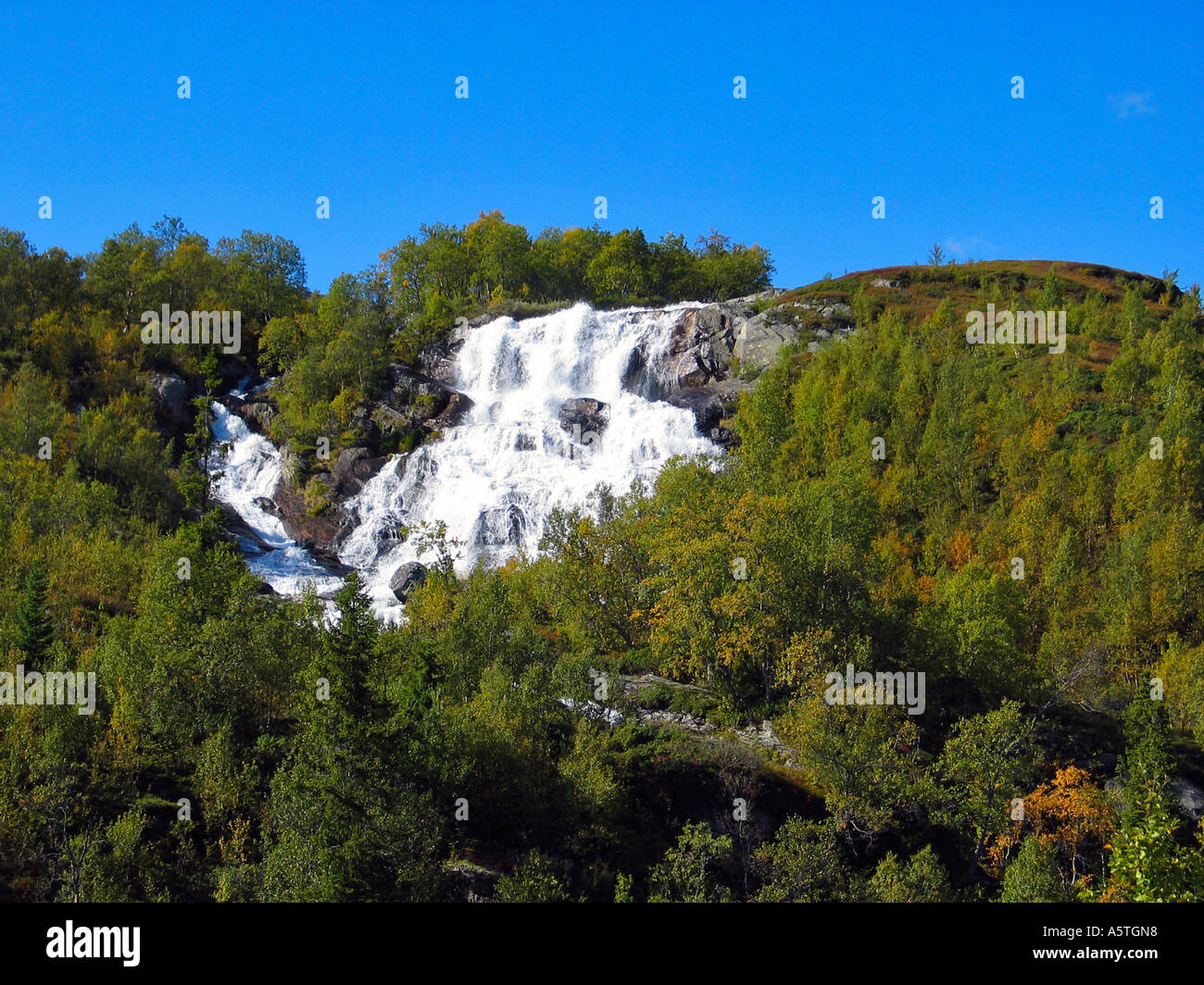 Waterfall on slettefjell Norway - Stock Image