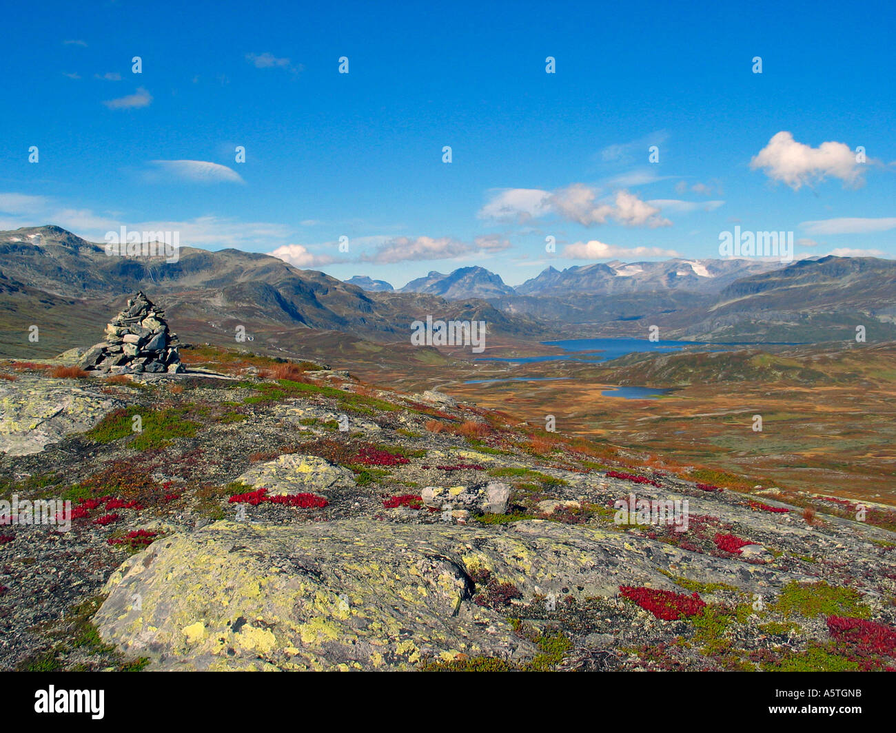 The turning of the seasons Indian summer Jotunheimen Norway Stock Photo