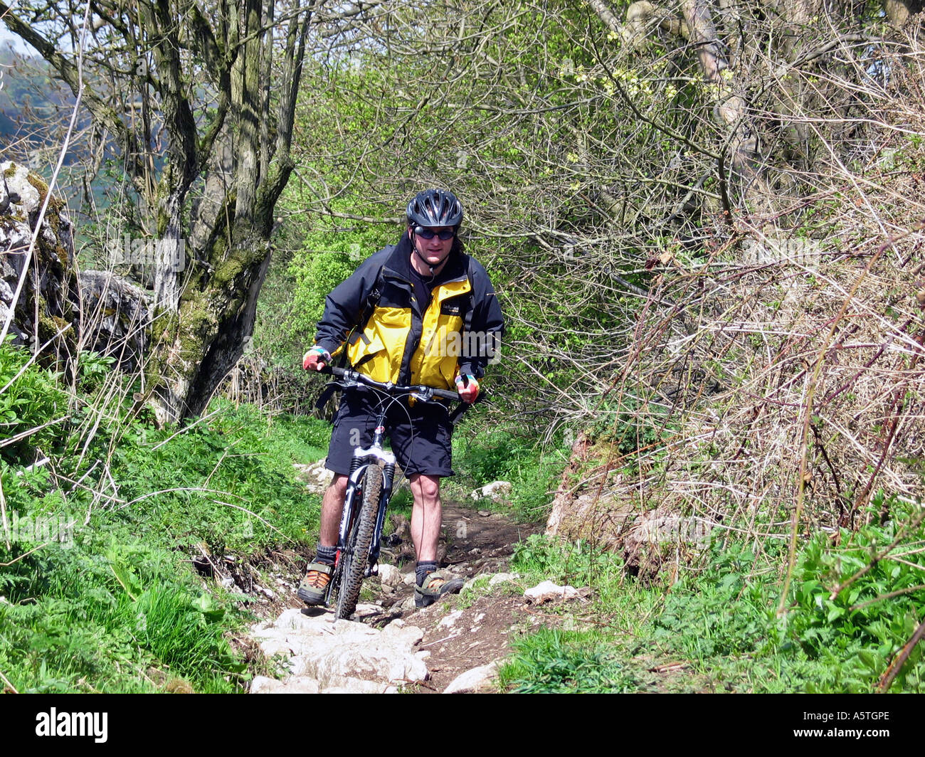 Bike riding High Peak Trail, Peak District, Derbyshire, Great Britain - Stock Image