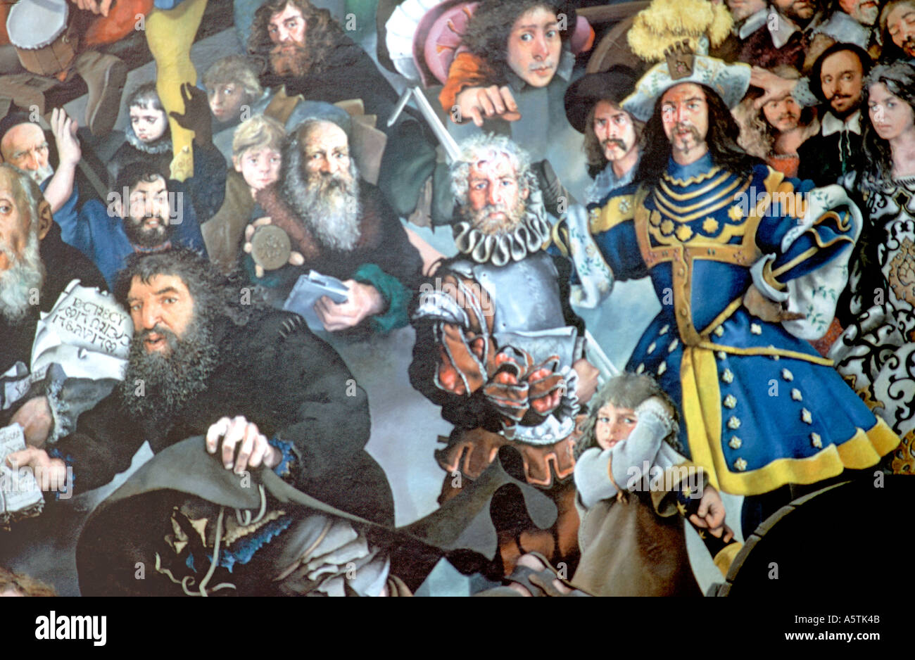Elizabethan Scene Wall Painting From Plymouth In England - Stock Image