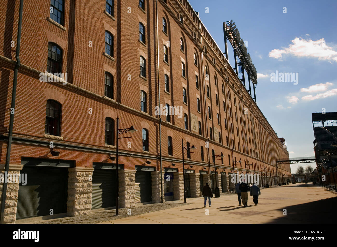 Camden Yards complex includes former Baltimore and Ohio Railroad warehouse longest building on East Coast Baltimore - Stock Image