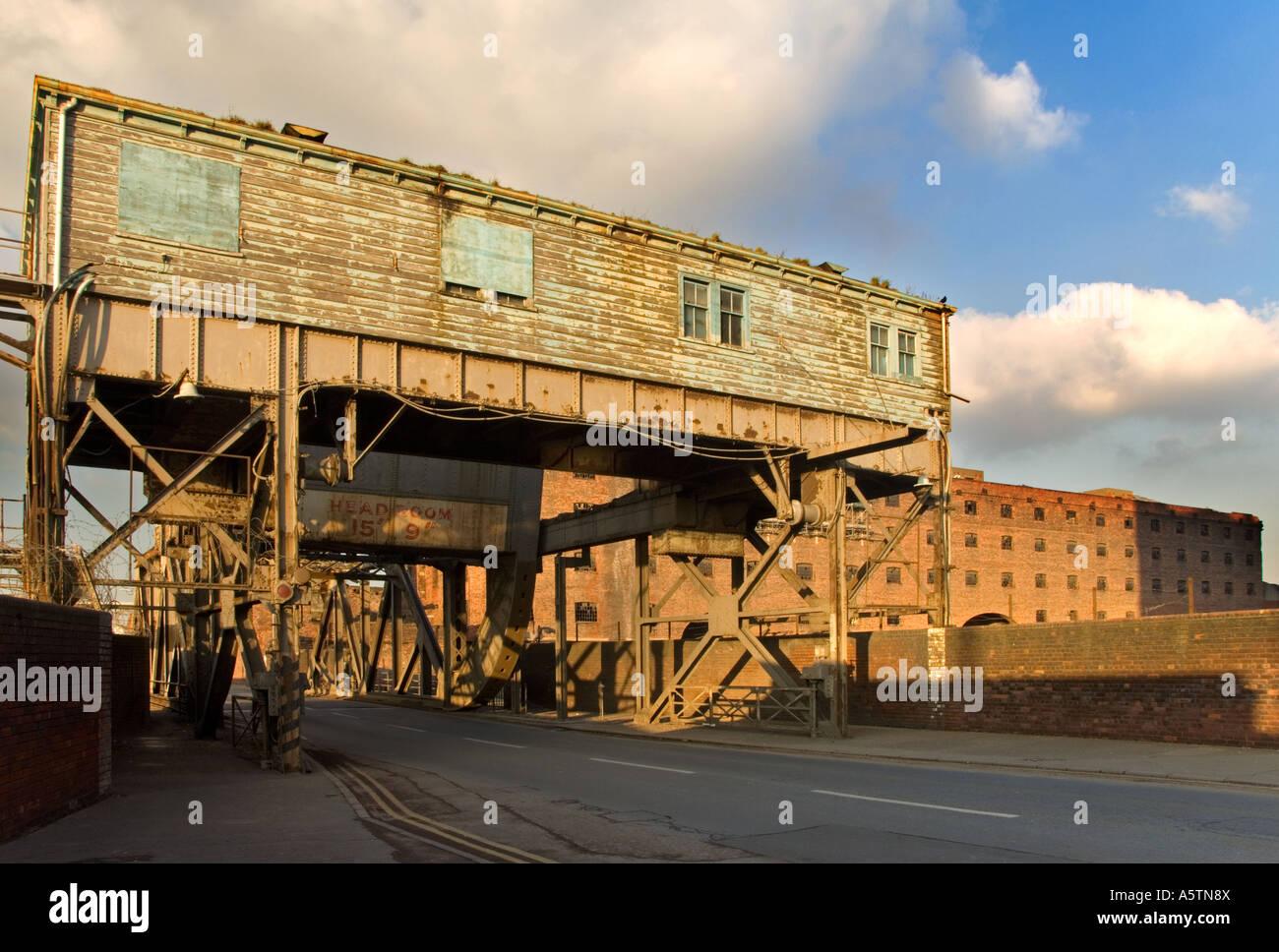 Old Swingbridge Connecting Stanley Dock with the River Mersey, Liverpool, Merseyside, England, UK Stock Photo