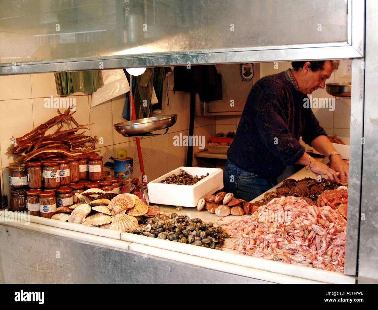 Fish Seefood Butcher Market Hall Malaga Andalusia Spain - Stock Image