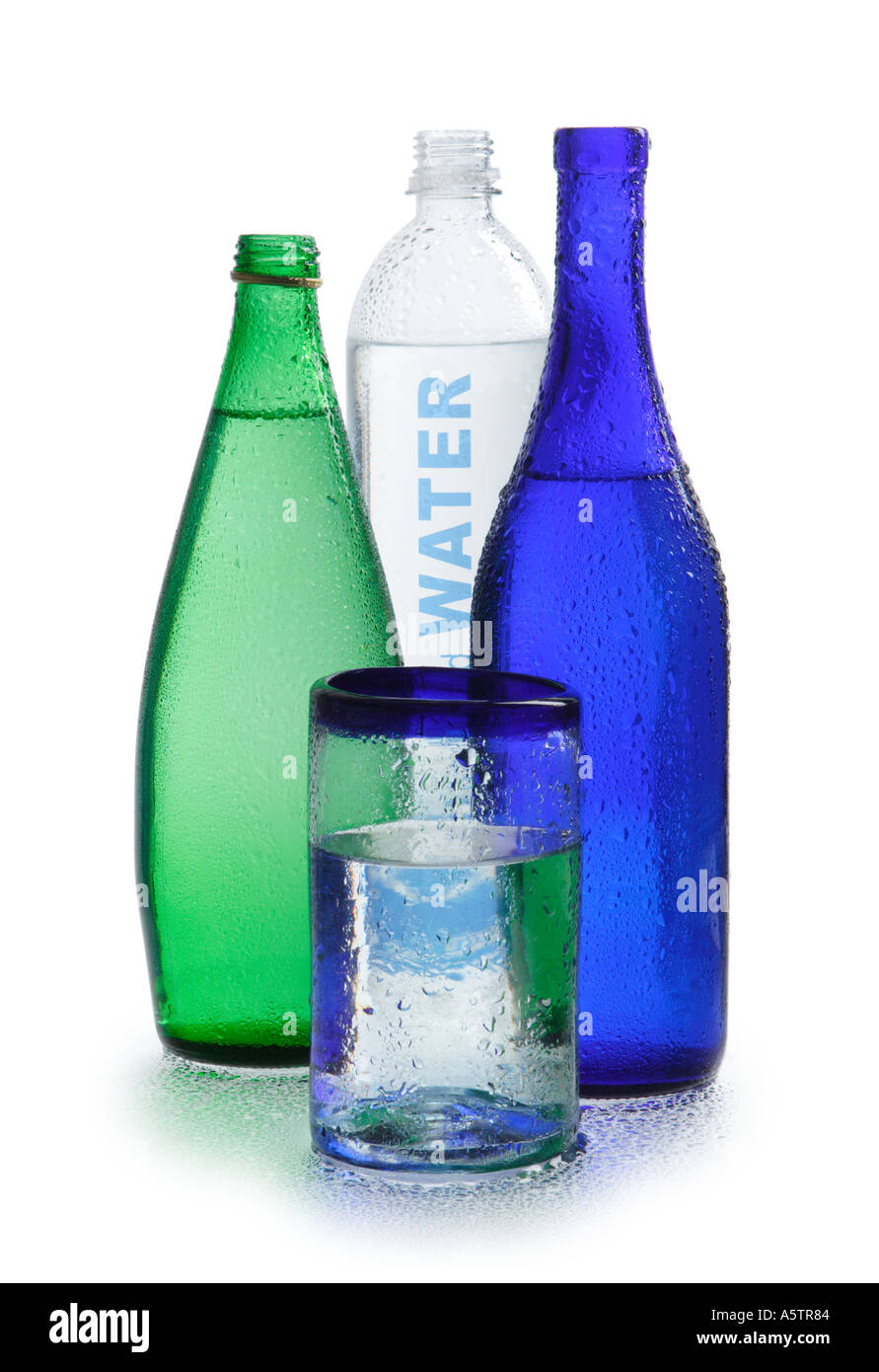 Water Bottles and glass of water - Stock Image