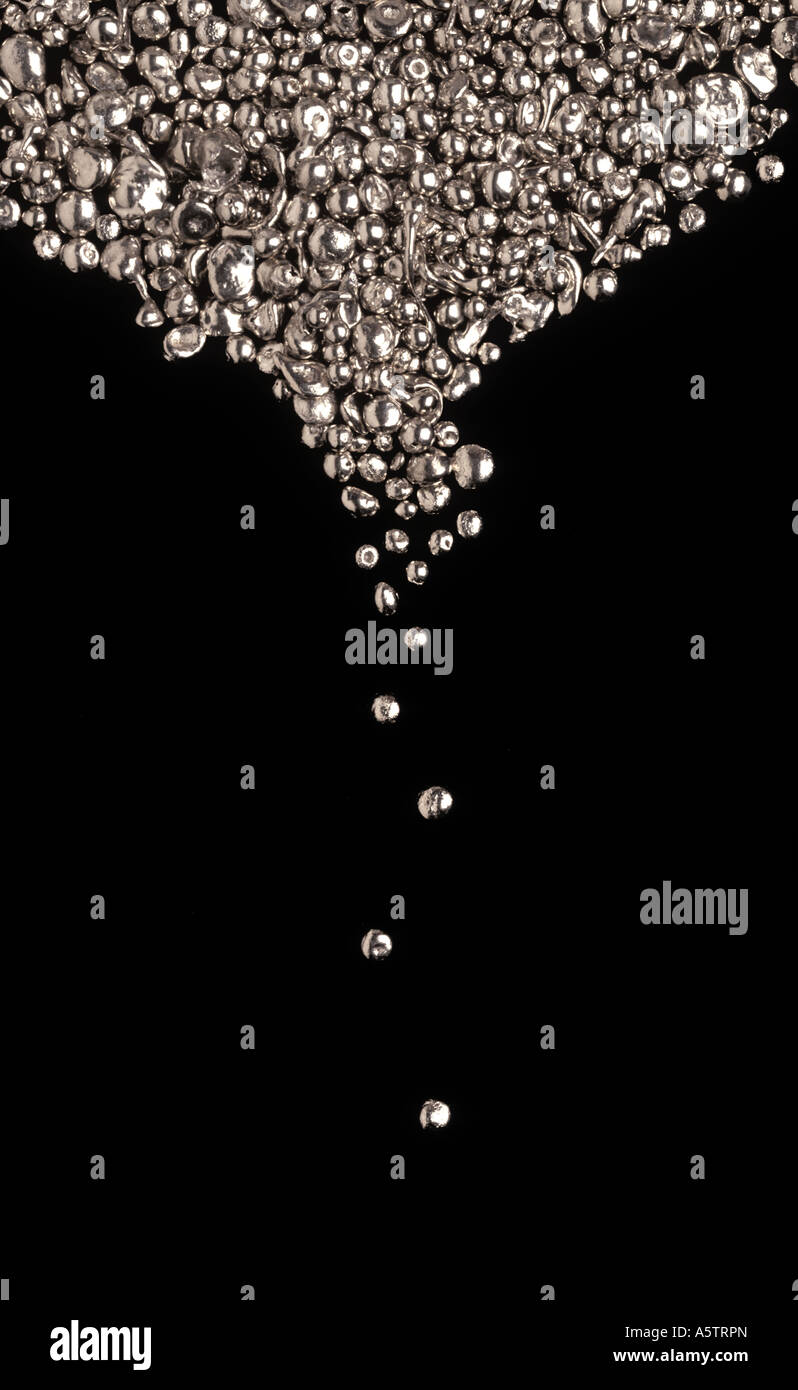 Platinum Precious Metals Nuggets Ingots Dripping Falling Pattern - Stock Image