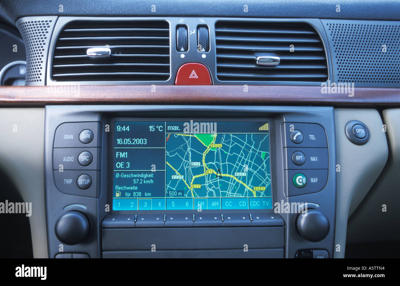 display of a navigation system in the car - Stock Image