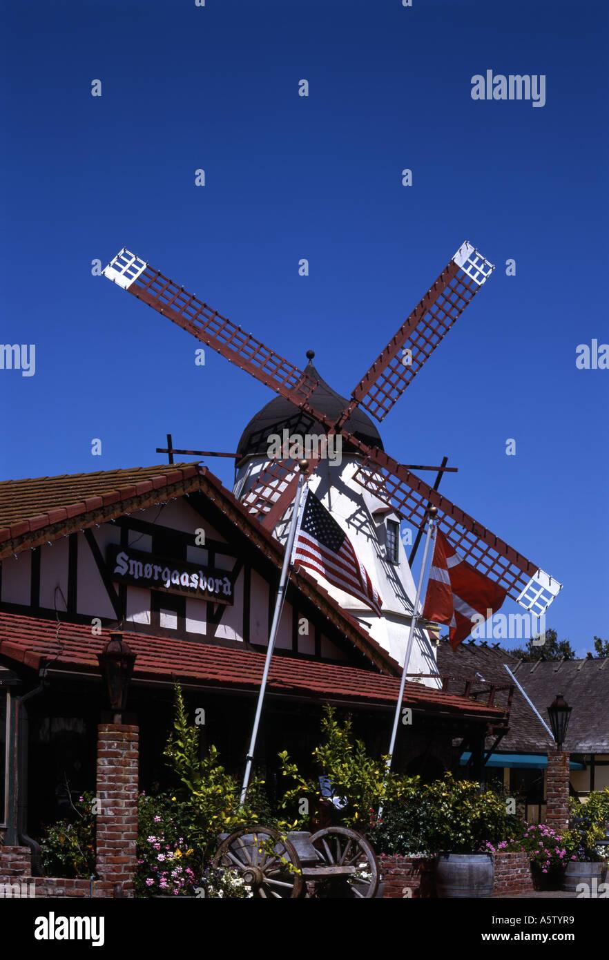 Restaurant Danish Windmill Solvang California Usa Stock