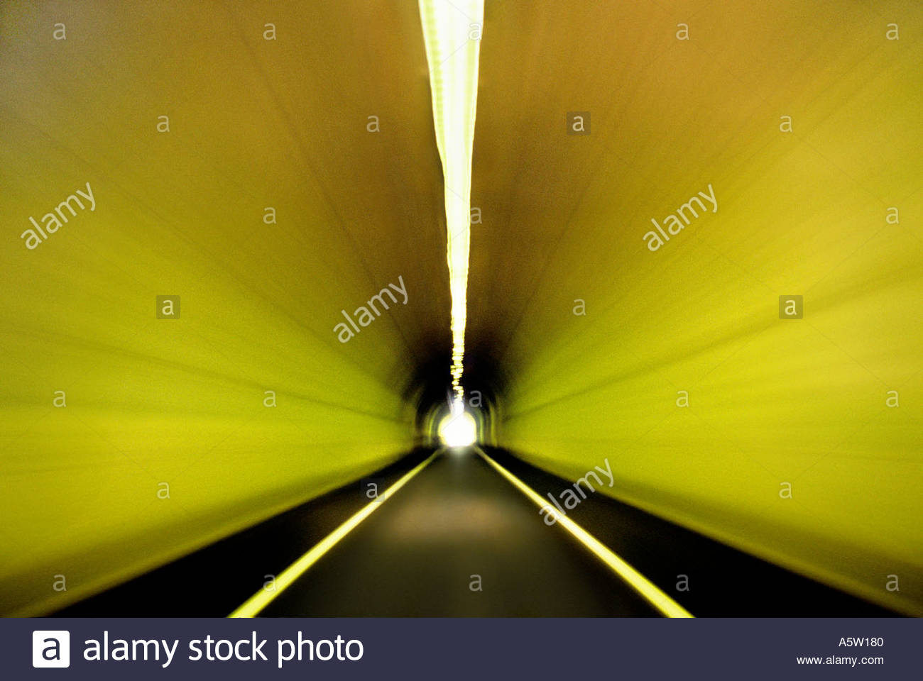 Driver's view of a single lane tunnel. Stock Photo