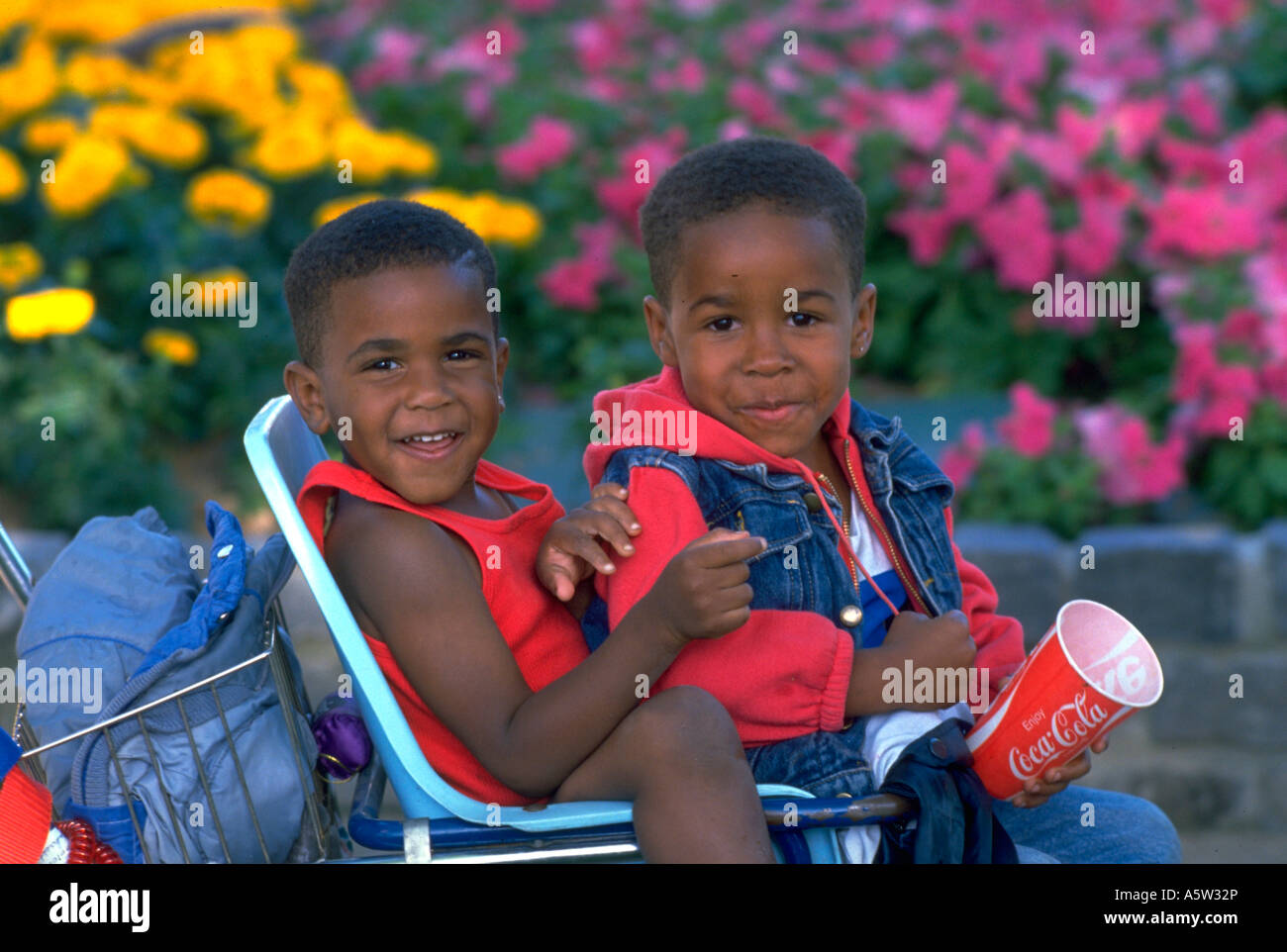 Painet hl1144 brothers boys twins siblings together african american stroller cocacola flowers togetherness brotherly love