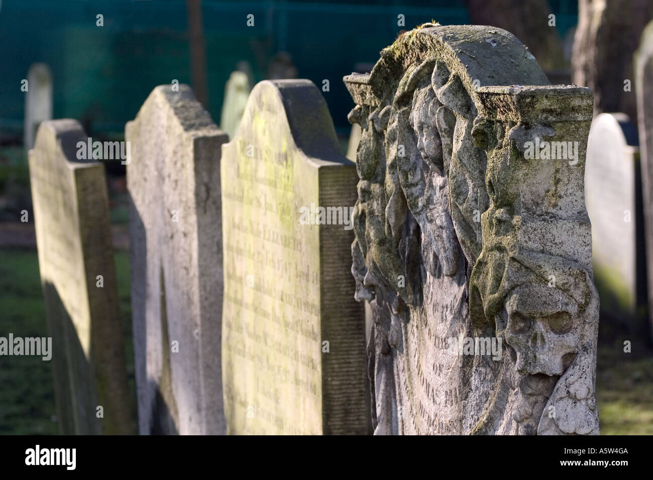 Gravestones. Bunhill Fields, London, England - Stock Image