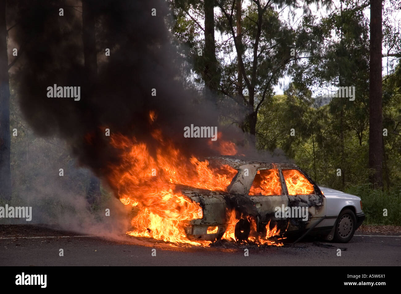 A Mercedes Car On Fire On An Australian Country Road. DSC_8579   Stock Image