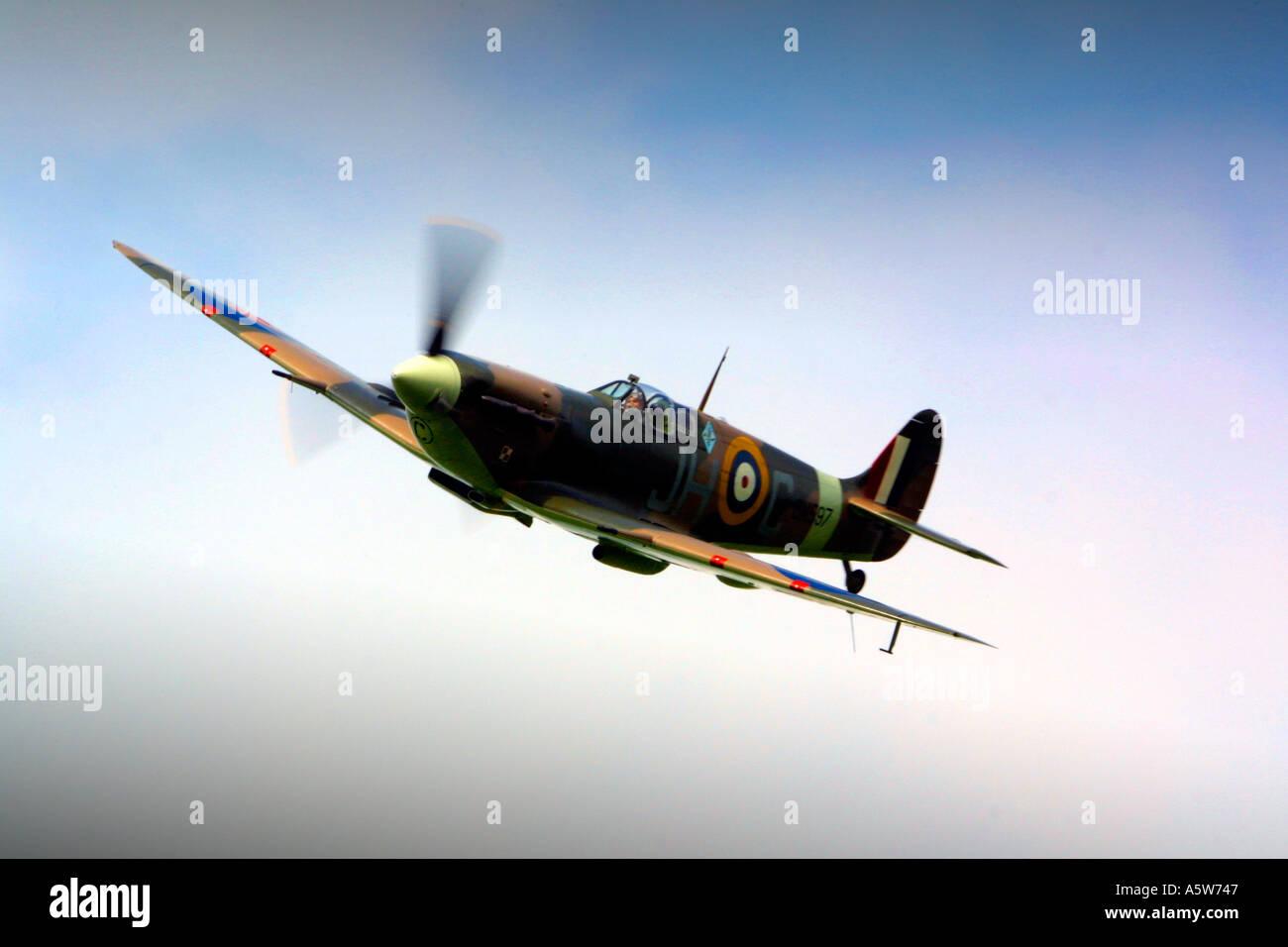 Royal Airforce Second World War Spitfire fighter plane Battle of Britain Flight - Stock Image