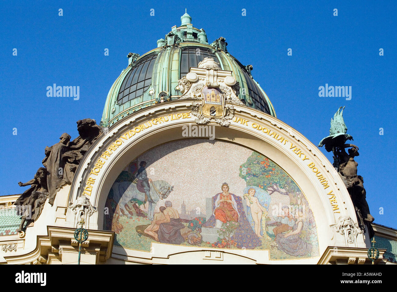 Design mosaic Prague Apotheosis. Exquisite Art Nouveau facade of the Municipal House Hall, Obecni Dum. Prague Stock Photo