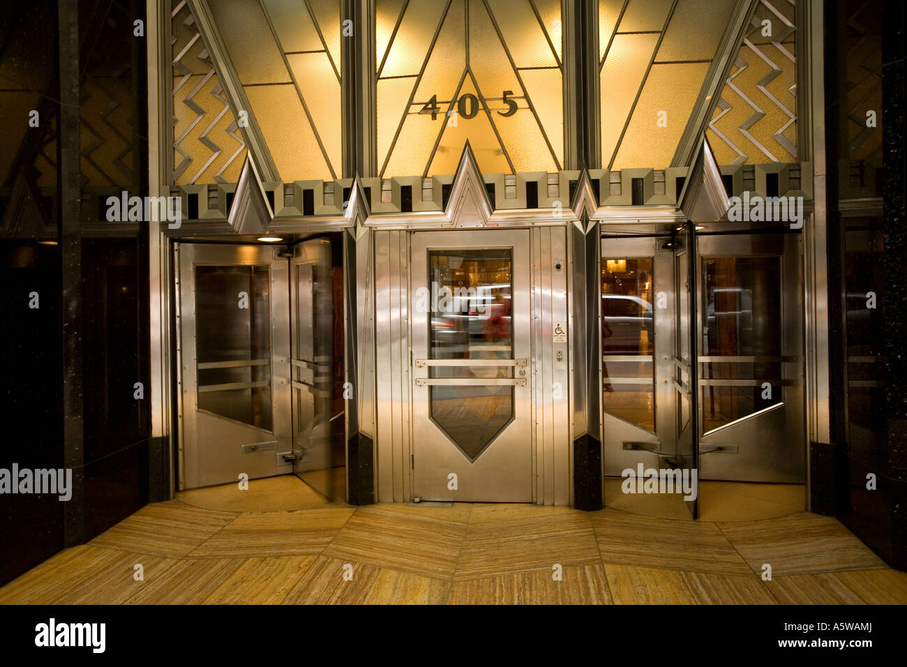 Exterior entrance to the Chrysler Building in New York City USA 2007 - Stock Image