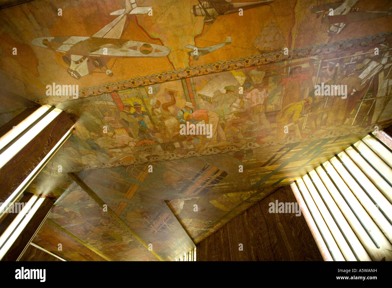 The painted ceiling by Edward Turnball  in the lobby of the Chrysler Building in New York City USA 2007 - Stock Image
