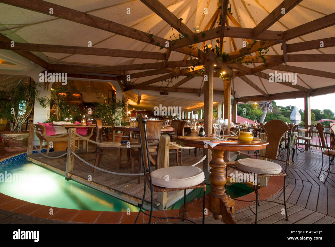 Interior Mandala Restaurant Gustavia St. Barths - Stock Image