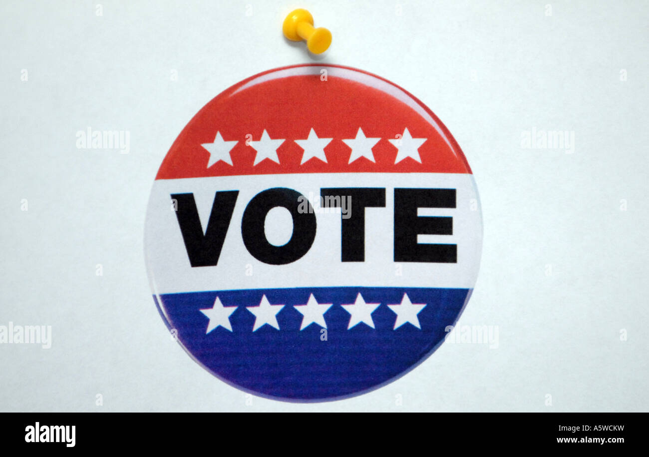 Pin Up picture of a vote button. Looks real, but its an illustration - Stock Image