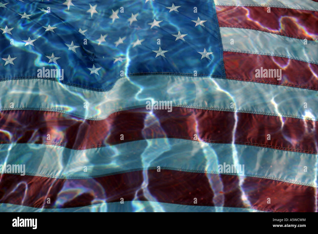 American Flag Abstract with water waves - Stock Image