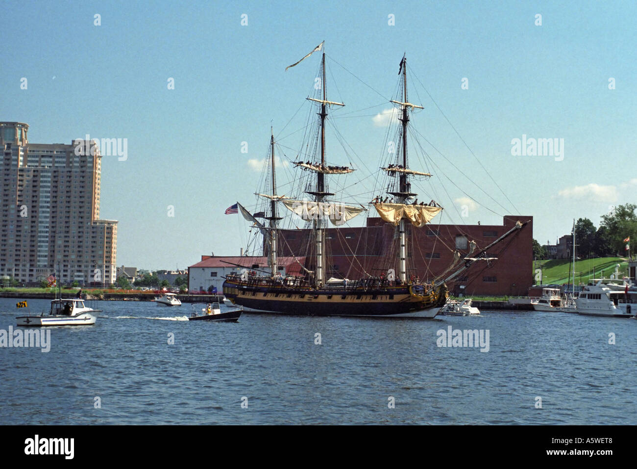 Tall ship in Baltimore Harbor, Md during Opsail - Stock Image