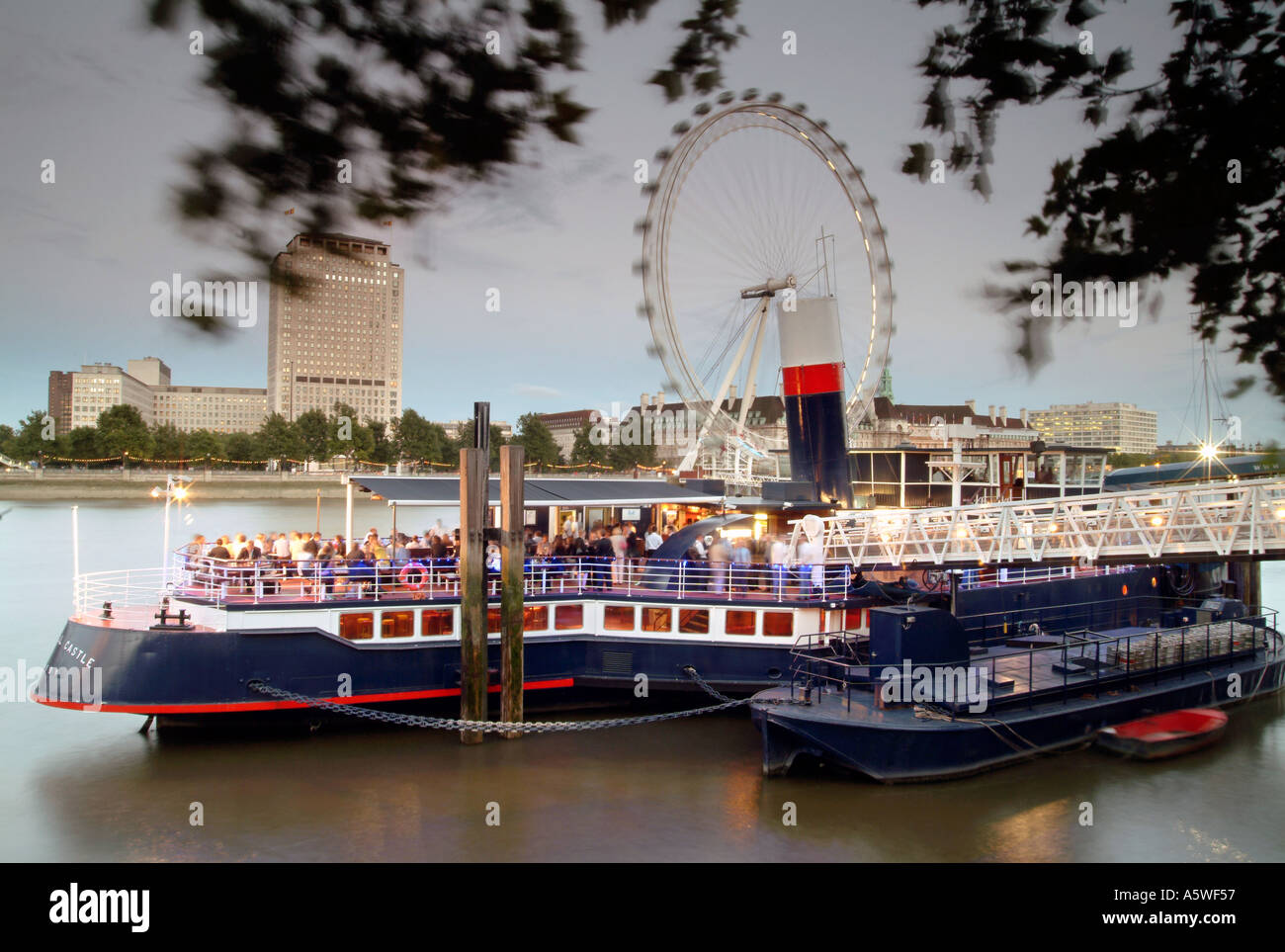 The Tattershall Castle pub-boat moored on the Thames embankment in London. - Stock Image