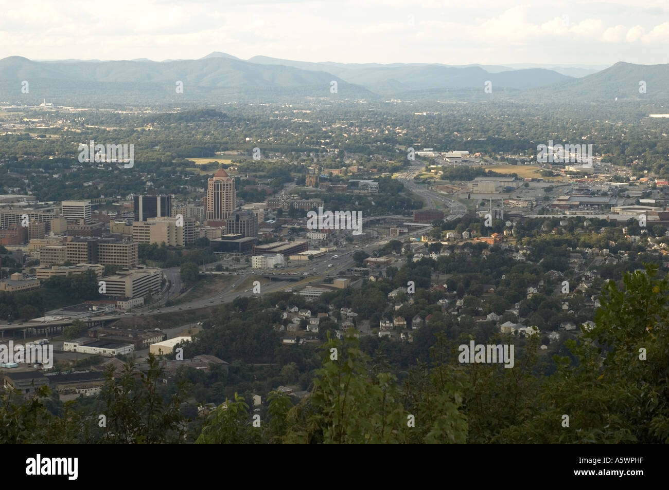 Landscape overlooking the City of Roanoke, Virginia - Landscape Overlooking The City Of Roanoke, Virginia Stock Photo