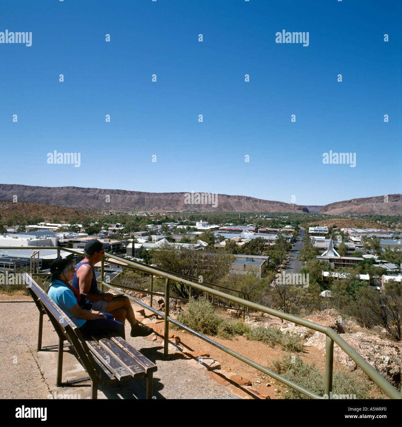 View over Town from Anzac Hill, Alice Springs, Northern Territory, Australia - Stock Image