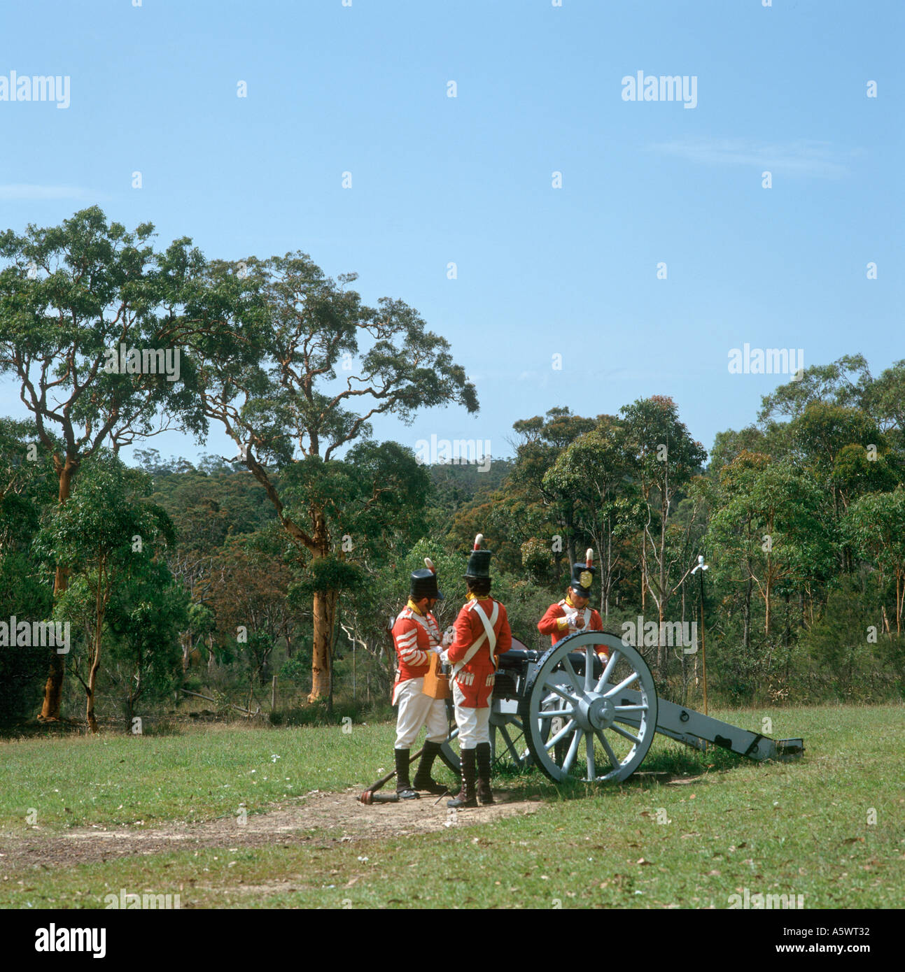 Soldiers in historic Re-enactment, Old Sydney Town, near Sydney, New South Wales, Australia - Stock Image