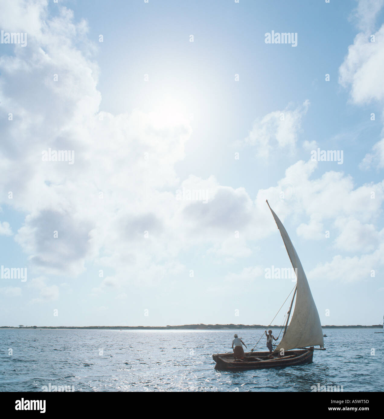 Arab Dhow off Lamu Island, North Coast, Kenya, East Africa Stock Photo