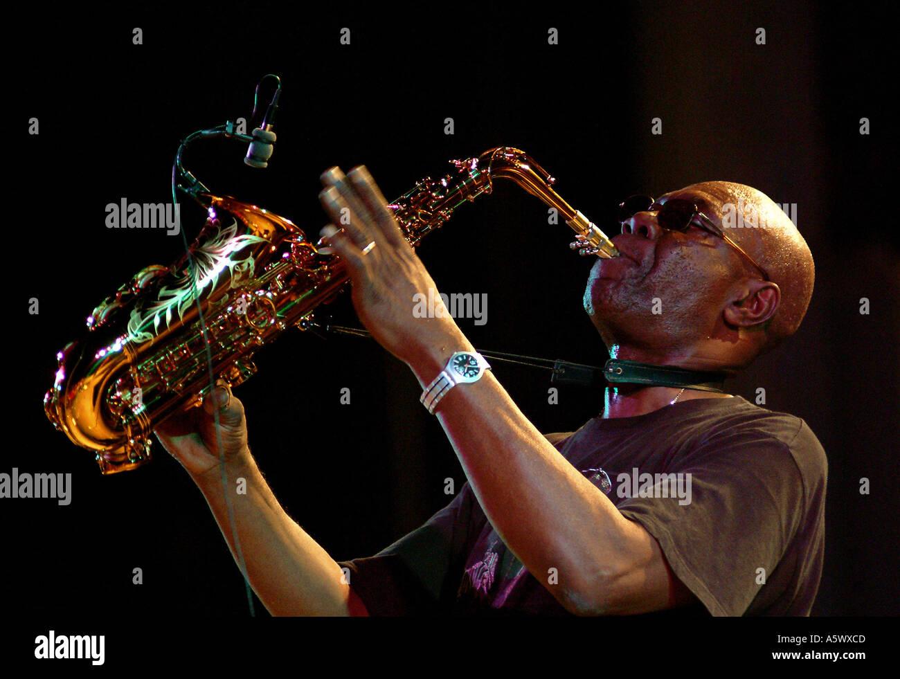 Manu Dibango performing at the Red Sea Jazz Festival in Eilat Israel - Stock Image