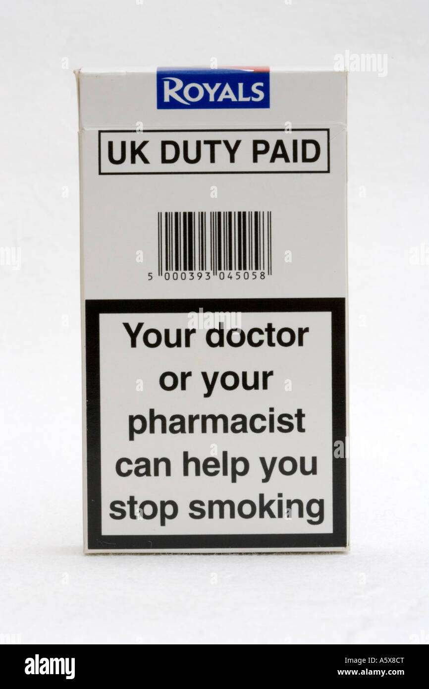Packet of Royals Superkings cigarettes with message your doctor can help you stop smoking UK - Stock Image