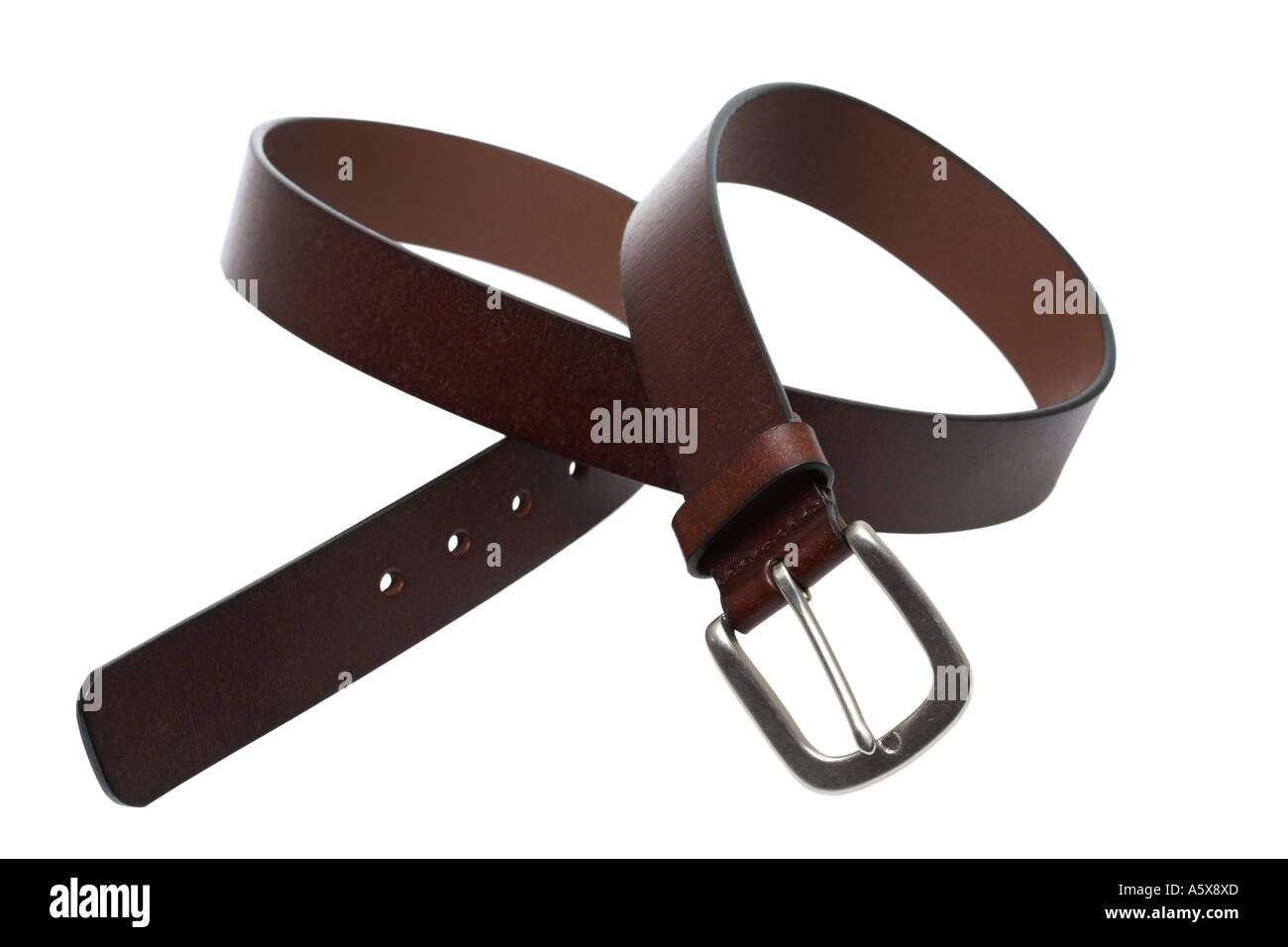 brown leather belt - Stock Image