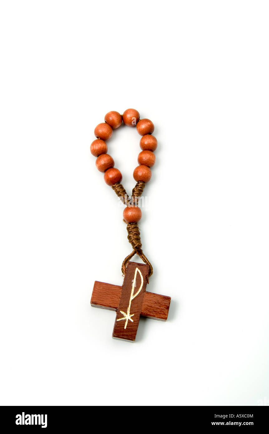 Single decade rosary beads - a bead for each of ten Hail Mary prayers - Stock Image