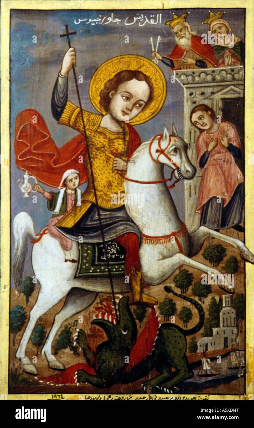 Bekaa Lebanon Painting Of St George Killing The Dragon  Russian - Stock Image
