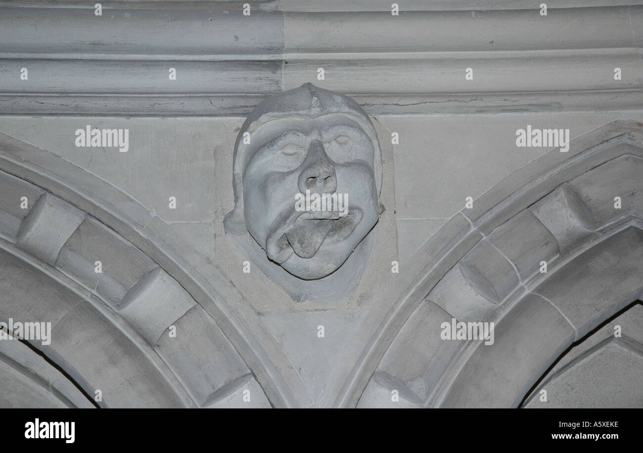 Inside Temple Church, Inner Temple, London, UK. Grotesque gargoyle. - Stock Image