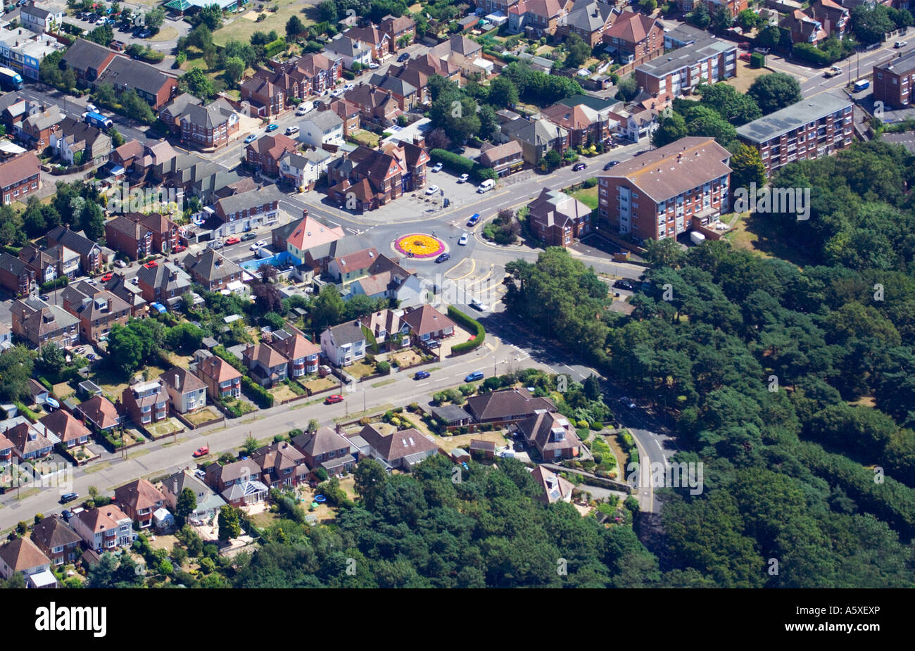 Aerial view. Houses and street layout. Floral roundabout. Poole suburbs . Dorset. UK. - Stock Image