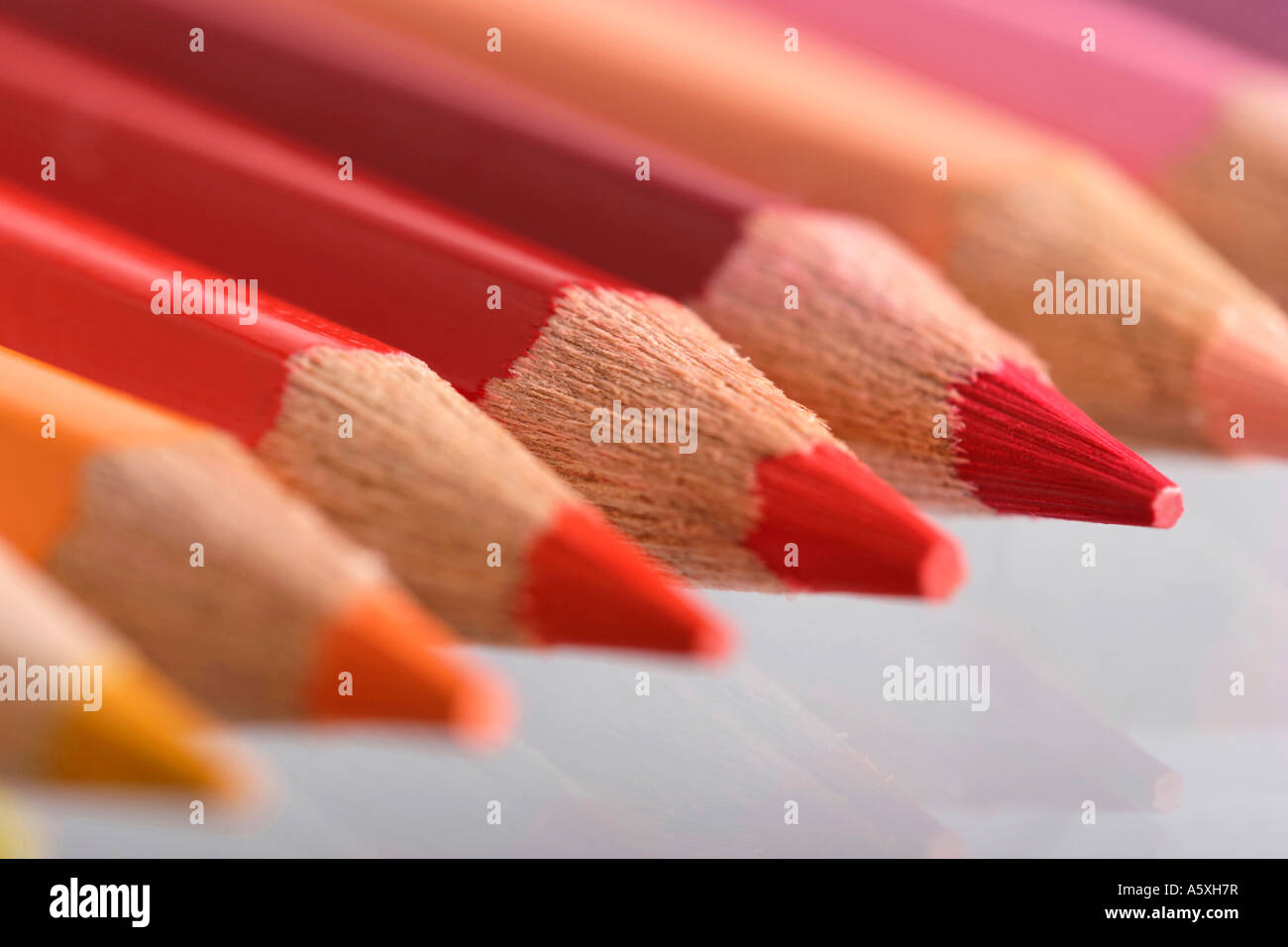 Colour pencils close up differential focus Stock Photo