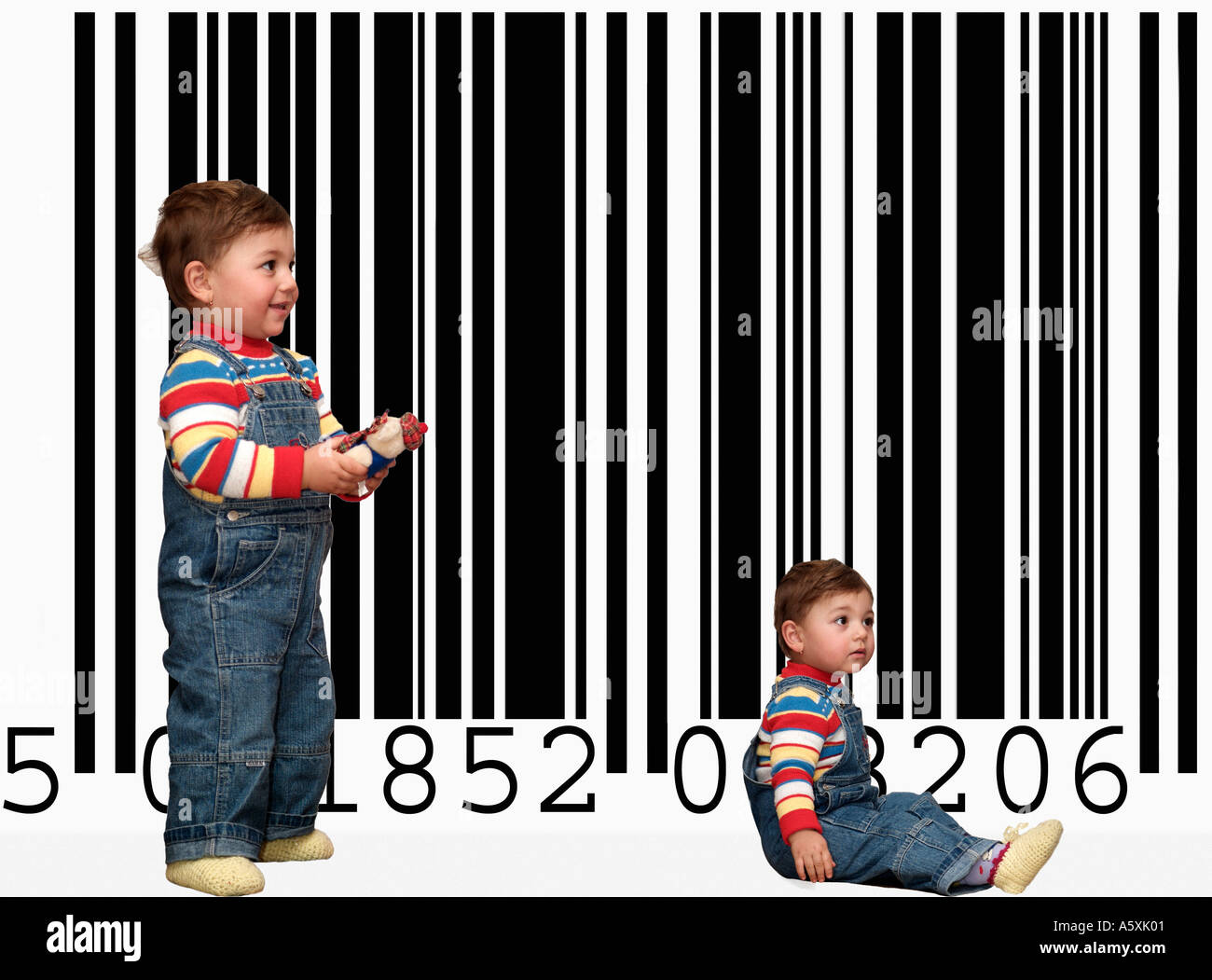 Genetic Engineering Concept with Identical Children in Front of a Barcode - Stock Image