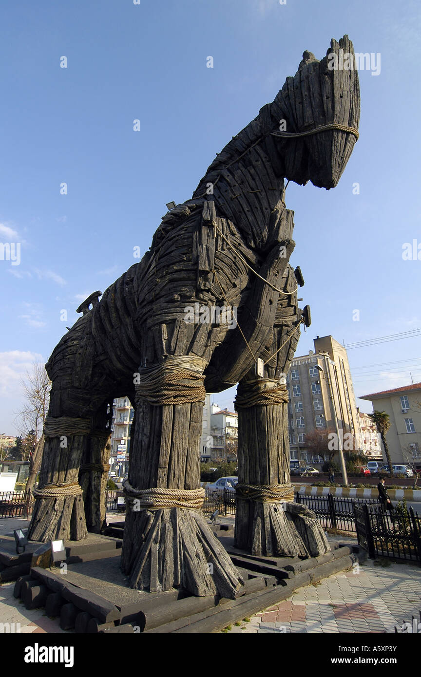A replica of the famous Horse of Troy, on display in Canakkale, the city closest to the actual Troy site, Turkey. - Stock Image
