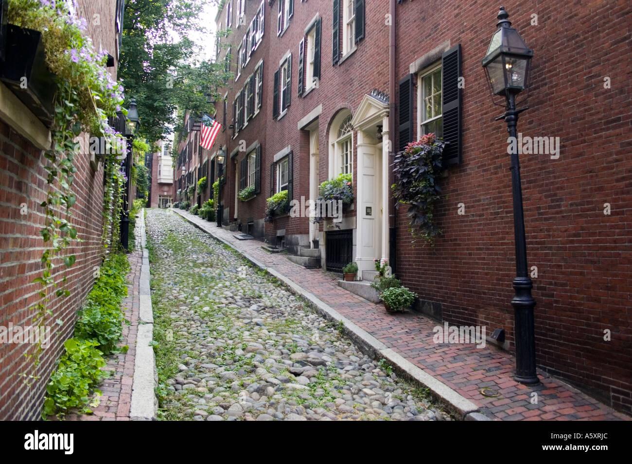 cobblestone street in beacon hill section of Boston Massachusetts USA - Stock Image