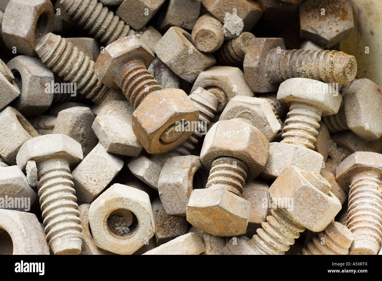 bucket of nuts and bolts - Stock Image
