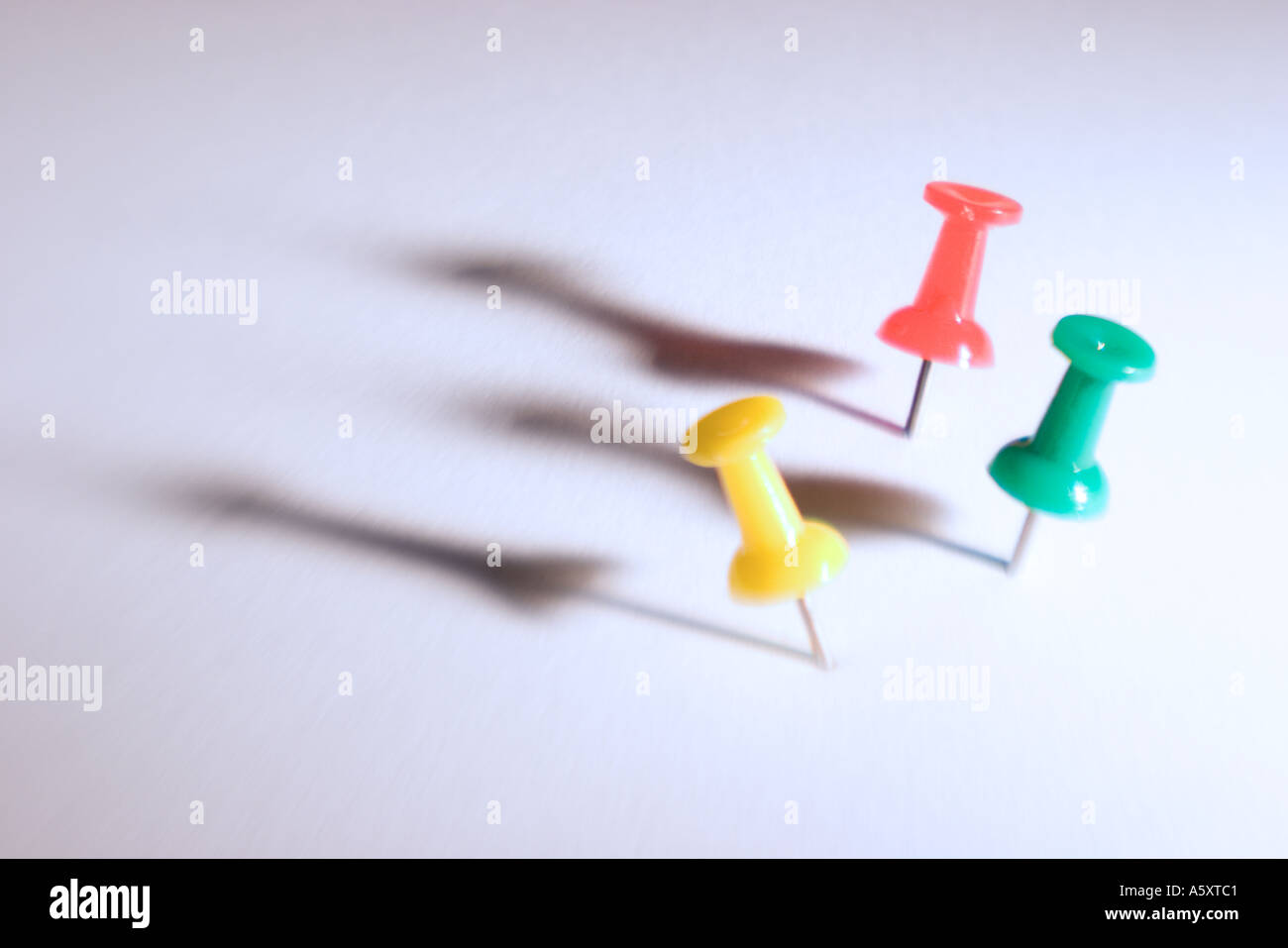 map pins casting shadows. Concept of positions or locations - Stock Image