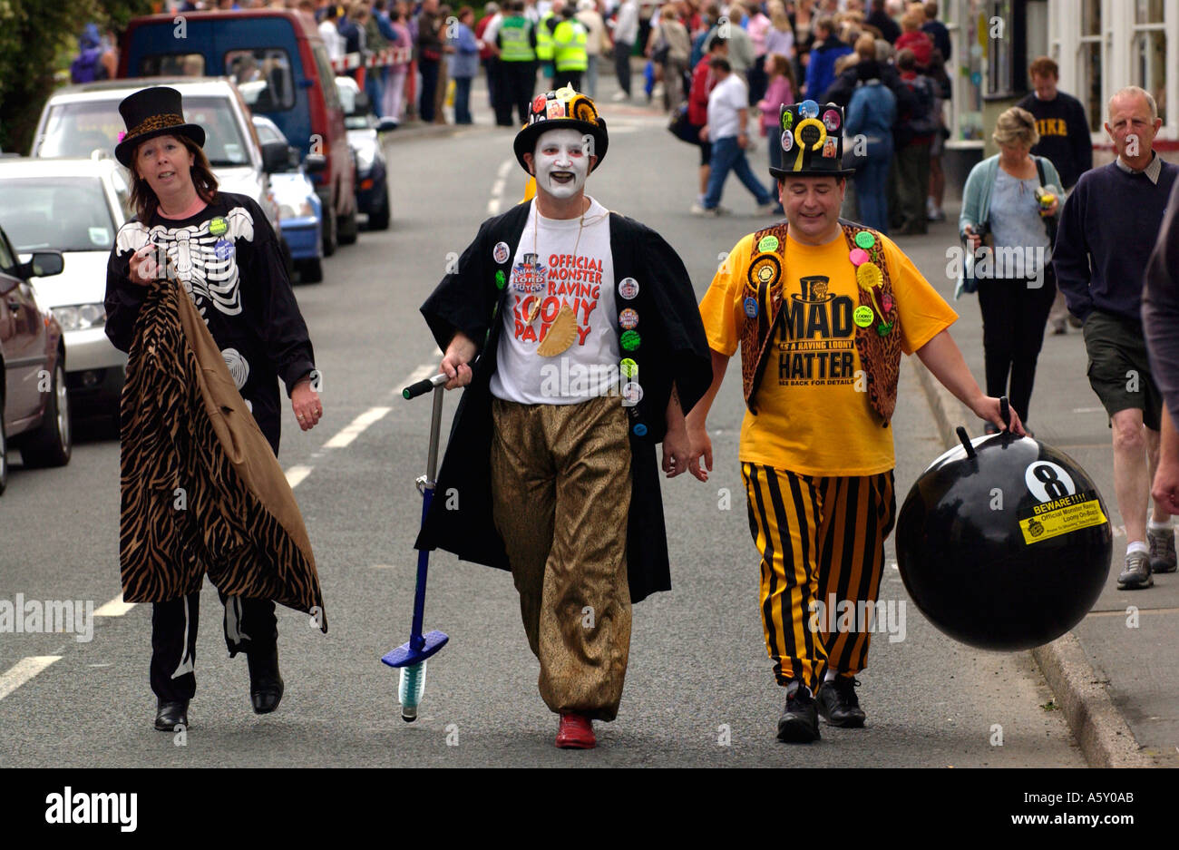 Monster Raving Loony party members at the annual Man v Horse race in Llanwrtyd Wells Powys Wales UK - Stock Image