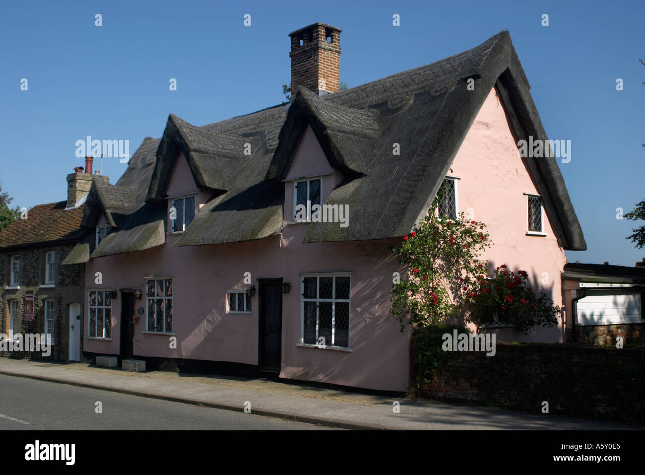 Thatched Cottage at Lavenham Suffolk England - Stock Image