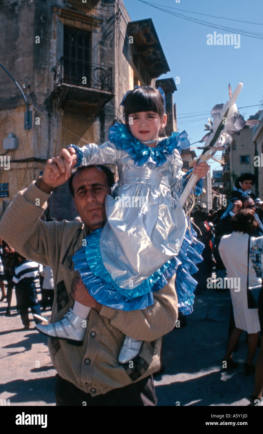 Lebanon Beirut Palm Sunday father and daughter - Stock Image
