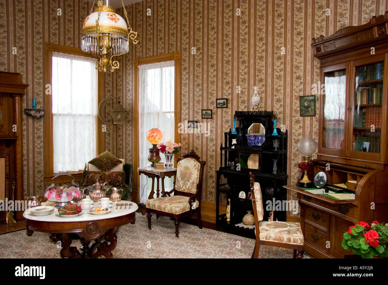 Victorian Living Room Furnishings Lace Curtains Glass Lamps Nineteenth Century Texas Country Home