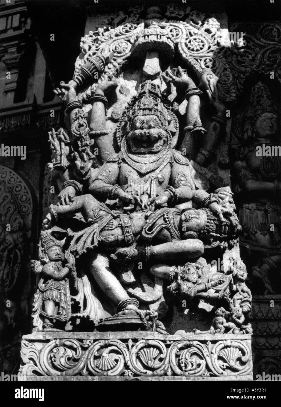 Stone sculpture of Narasimha India - Stock Image