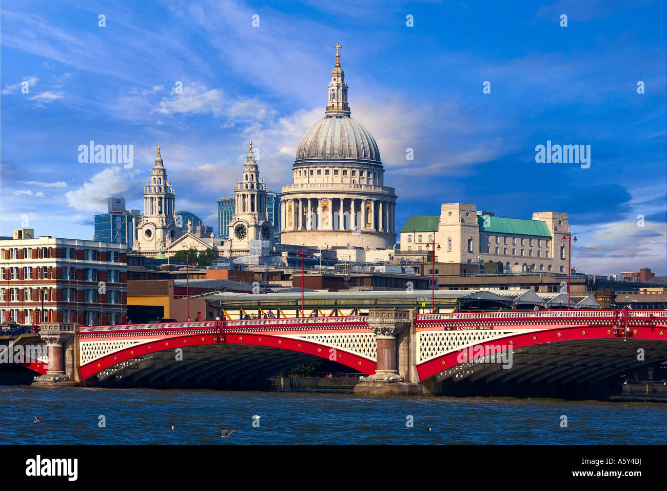 St Paul cathedral and the City London United kingdom - Stock Image
