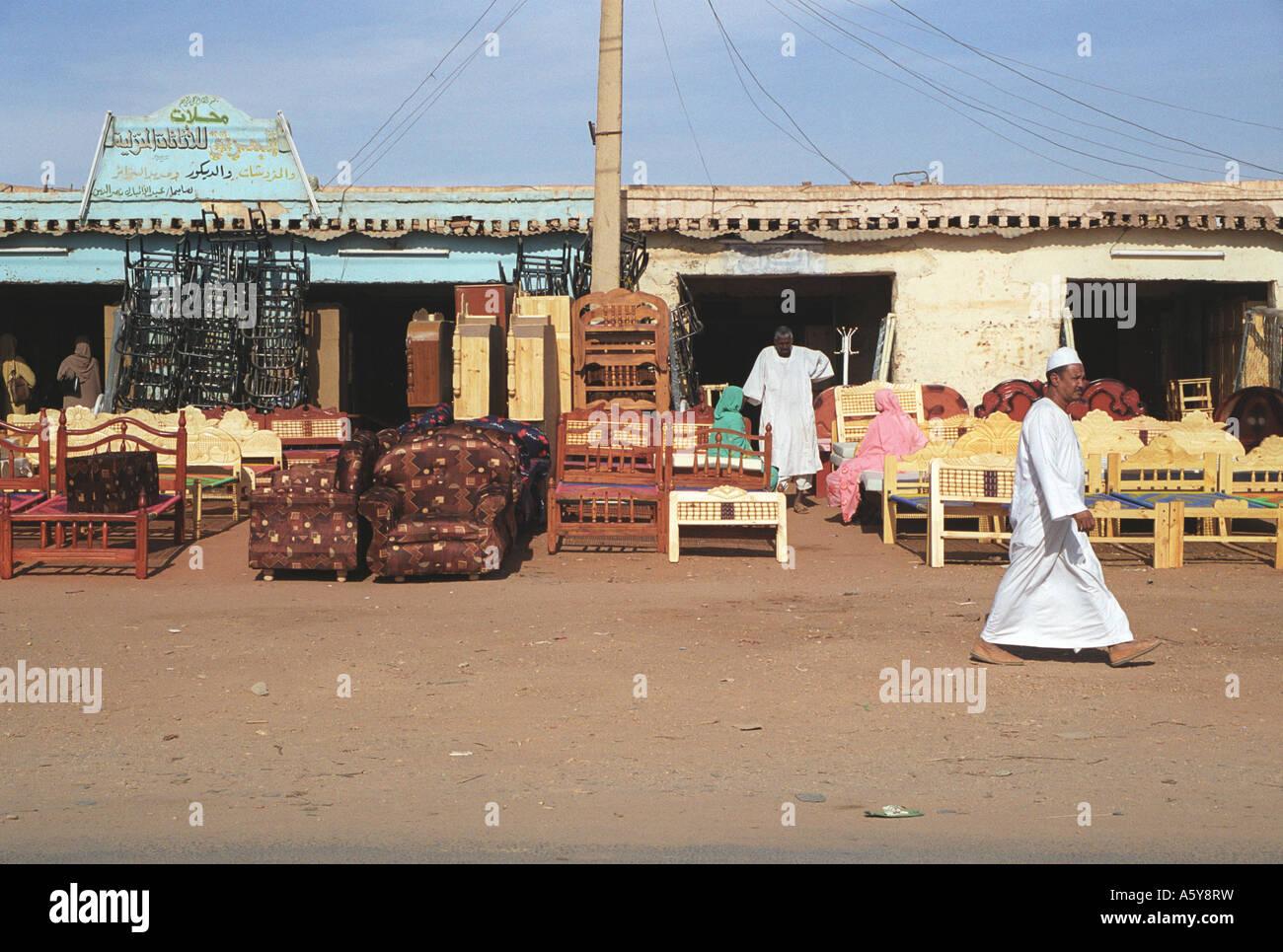 Furniture shop at Juba market, Sudan - Stock Image