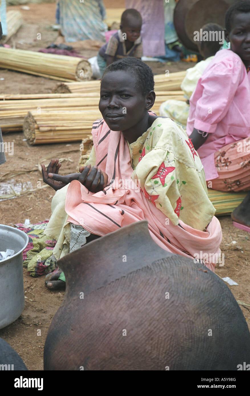 Woman at Juba market, South Sudan - Stock Image