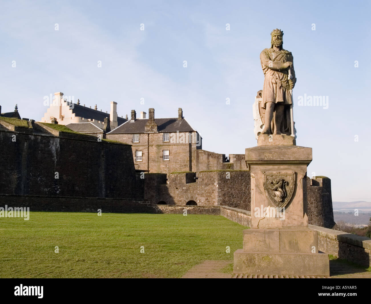 Stirling Scotland UK King Robert the Bruce statue standing in front of Stirling Castle on eslpanade. Stock Photo